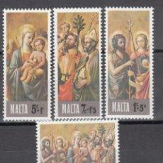 Sellos: MALTA, 1976 YVERT Nº 533 / 536 /**/, NAVIDAD, RELIGIÓN, HISTORIAS BÍBLICAS. Lote 174346322