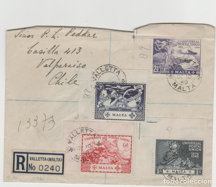 LOTE V SOBRE SELLOS MALTA CARTA SERIE COMPLETA AÑO 1949 UNION POSTAL CERTIFICADO VALPARAISO CHILE (Sellos - Extranjero - Europa - Malta)