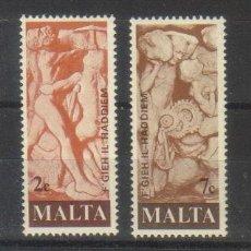 Sellos: MALTA 551/3 HOMENAJE TRABAJADORES. Lote 183693385