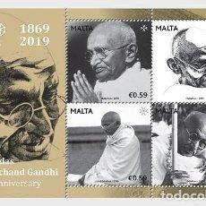Sellos: MALTA 2019 - BIRTH OF GANDHI - 150TH ANNIVERSARY - MINIATURE SHEET. Lote 187629077