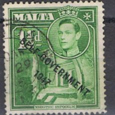 Timbres: MALTA // YVERT 229 // SELF GOVERNMENT 1947 // 1953 ... USADO. Lote 192719896