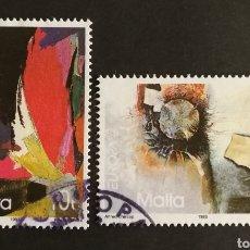 Sellos: MALTA, EUROPA CEPT 1993, ARTE CONTEMPORÁNEO, USADA (FOTOGRAFÍA REAL). Lote 203310822