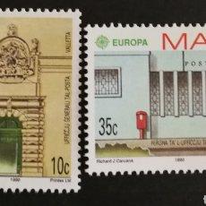 Sellos: MALTA, EUROPA CEPT 1990 MNH, ESTABLECIMIENTOS POSTALES (FOTOGRAFÍA REAL). Lote 203457006