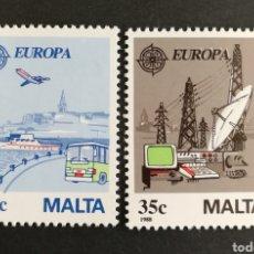 Sellos: MALTA, EUROPA CEPT 1988 MNH, TRANSPORTES Y COMUNICACIONES (FOTOGRAFÍA REAL). Lote 204055210