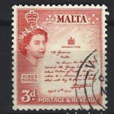 Selos: MALTA 1956-57 - PROCLAMACIÓN DE 1942 - SELLO USADO. Lote 205096035