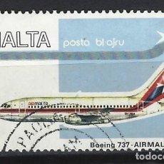 Timbres: MALTA 1984 - CORREO AÉREO, BOEING 737 - SELLO USADO. Lote 205157678