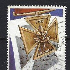 Timbres: MALTA 1993 - SCOUTS, MEDALLA AL VALOR - SELLO USADO. Lote 205180238