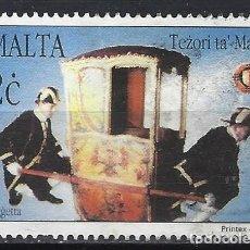 Timbres: MALTA 1997 - TESOROS DE MALTA, SILLAS CON PORTADORES - SELLO USADO. Lote 205185242