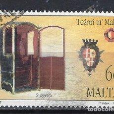 Timbres: MALTA 1997 - TESOROS DE MALTA, SILLAS CON PORTADORES - SELLO USADO. Lote 205185267