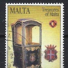 Sellos: MALTA 1997 - TESOROS DE MALTA, SILLAS CON PORTADORES - SELLO USADO. Lote 205185305