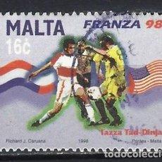 Sellos: MALTA 1998 - CAMPEONATO MUNDIAL DE FÚTBOL EN FRANCIA - SELLO USADO. Lote 205186375