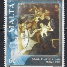 Sellos: MALTA 1998 - NAVIDAD, CUADRO DE MATIA PRETI - SELLO USADO. Lote 205186505