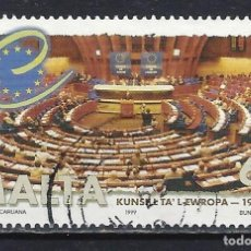 Sellos: MALTA 1998 - 10º ANIVERSARIO DEL CONSEJO DE EUROPA - SELLO USADO. Lote 205186605