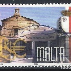 Sellos: MALTA 1999 - 25º ANIVERSARIO DE LA REPÚBLICA, BANCO CENTRAL DE MALTA E IGLESIA - SELLO USADO. Lote 205187105