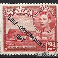 Timbres: MALTA 1948 - JORGE VI, SOBREIMPRESO SELF-GOVERNMENT 1947 - SELLO USADO. Lote 210195118