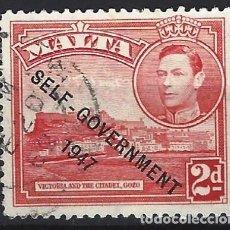 Timbres: MALTA 1948 - JORGE VI, SOBREIMPRESO SELF-GOVERNMENT 1947 - SELLO USADO. Lote 210195146