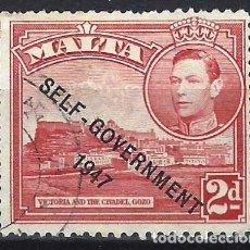Timbres: MALTA 1948 - JORGE VI, SOBREIMPRESO SELF-GOVERNMENT 1947 - SELLO USADO. Lote 210195218