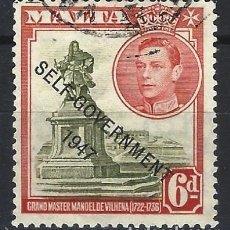 Timbres: MALTA 1948 - JORGE VI, SOBREIMPRESO SELF-GOVERNMENT 1947 - SELLO USADO. Lote 210195458
