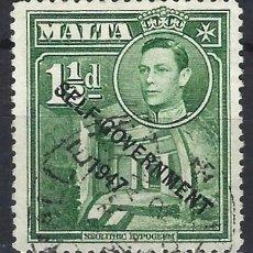 Timbres: MALTA 1953 - JORGE VI, SOBREIMPRESO SELF-GOVERNMENT 1947 - SELLO USADO. Lote 210195631
