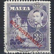 Timbres: MALTA 1953 - JORGE VI, SOBREIMPRESO SELF-GOVERNMENT 1947 - SELLO USADO. Lote 210195866