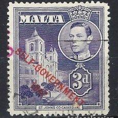 Sellos: MALTA 1953 - JORGE VI, SOBREIMPRESO SELF-GOVERNMENT 1947 - SELLO USADO. Lote 210195885