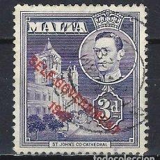 Sellos: MALTA 1953 - JORGE VI, SOBREIMPRESO SELF-GOVERNMENT 1947 - SELLO USADO. Lote 210195905