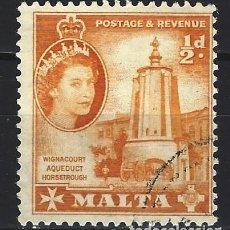 Sellos: MALTA 1956-57 - MONUMENTOS - ABREVADERO DEL ACUEDUCTO DE WIGNACOURT - SELLO USADO. Lote 210196088