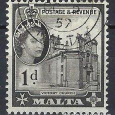 Sellos: MALTA 1956-57 - MONUMENTOS - IGLESIA VICTORIA - SELLO USADO. Lote 210196156