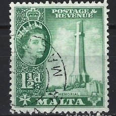 Sellos: MALTA 1956-57 - MONUMENTOS - MONUMENTO DE LA GUERRA - SELLO USADO. Lote 210196283