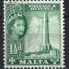 Sellos: MALTA 1956-57 - MONUMENTOS - MONUMENTO DE LA GUERRA - SELLO USADO. Lote 210196315