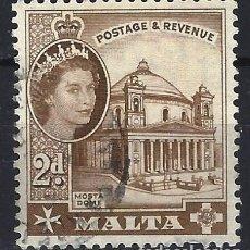 Sellos: MALTA 1956-57 - MONUMENTOS - CATEDRAL DE MOSTA - SELLO USADO. Lote 210196463