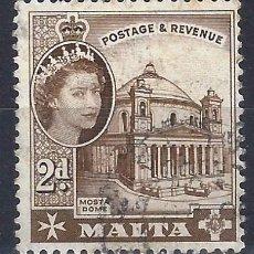 Sellos: MALTA 1956-57 - MONUMENTOS - CATEDRAL DE MOSTA - SELLO USADO. Lote 210196485