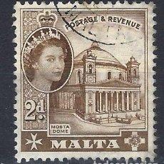 Sellos: MALTA 1956-57 - MONUMENTOS - CATEDRAL DE MOSTA - SELLO USADO. Lote 210196505