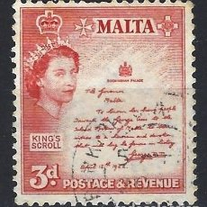 Sellos: MALTA 1956-57 - MONUMENTOS - PROCLAMACIÓN DE 1942 - SELLO USADO. Lote 210196575