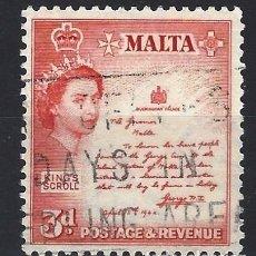 Sellos: MALTA 1956-57 - MONUMENTOS - PROCLAMACIÓN DE 1942 - SELLO USADO. Lote 210196643