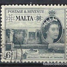 Sellos: MALTA 1956-57 - MONUMENTOS - TEMPLOS DE TARXIEN - SELLO USADO. Lote 210196746