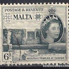 Sellos: MALTA 1956-57 - MONUMENTOS - TEMPLOS DE TARXIEN - SELLO USADO. Lote 210196767