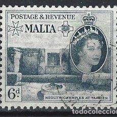 Sellos: MALTA 1956-57 - MONUMENTOS - TEMPLOS DE TARXIEN - SELLO USADO. Lote 210196810