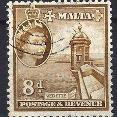 Sellos: MALTA 1956-57 - MONUMENTOS - GARITA DE VIGILANCIA - SELLO USADO. Lote 210197017
