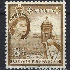 Timbres: MALTA 1956-57 - MONUMENTOS - GARITA DE VIGILANCIA - SELLO USADO. Lote 210197038