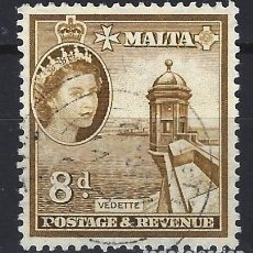 Sellos: MALTA 1956-57 - MONUMENTOS - GARITA DE VIGILANCIA - SELLO USADO. Lote 210197038