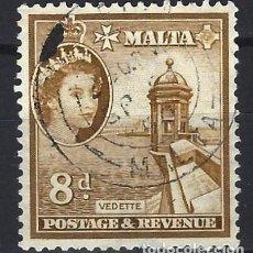 Sellos: MALTA 1956-57 - MONUMENTOS - GARITA DE VIGILANCIA - SELLO USADO. Lote 210197053