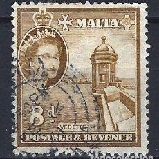 Sellos: MALTA 1956-57 - MONUMENTOS - GARITA DE VIGILANCIA - SELLO USADO. Lote 210197071