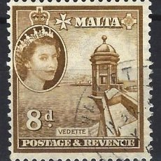Sellos: MALTA 1956-57 - MONUMENTOS - GARITA DE VIGILANCIA - SELLO USADO. Lote 210197100