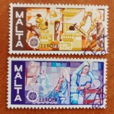 Sellos: MALTA, EUROPA CEPT 1976 USADA (FOTOGRAFÍA REAL). Lote 213341808