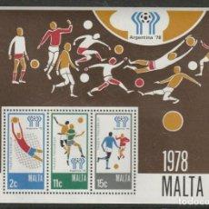Sellos: MALTA 6 DE JUNIO DE 1978 78 COPA MUNDIAL DE FÚTBOL ARGENTINA MINIATURA HOJA SIN MONTAR. Lote 213801867