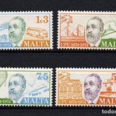 Sellos: MALTA 492/95** - AÑO 1974 - CENTENARIO DE LA UNION POSTAL UNIVERSAL - TRENES - AVIONES - BARCOS. Lote 215917240