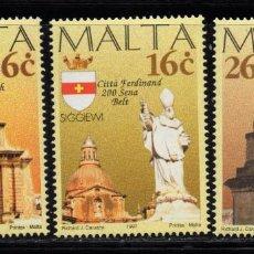 Sellos: MALTA 980/82** - AÑO 1997 - BICENTENARIO DE CIUDADES MALTESAS. Lote 215918636