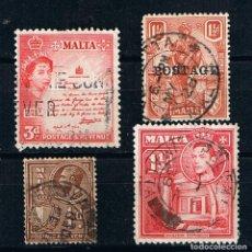 Francobolli: MALTA - LOTE DE CUATRO SELLOS ANTIGUOS CLASICOS ISABEL II. Lote 215975312