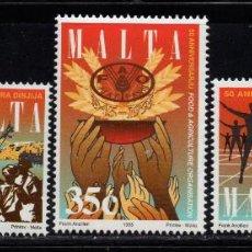 Sellos: MALTA 931/33** - AÑO 1995 - ANIVERSARIOS - SEGUNDA GUERRA MUNDIAL - ONU - FAO. Lote 216690877